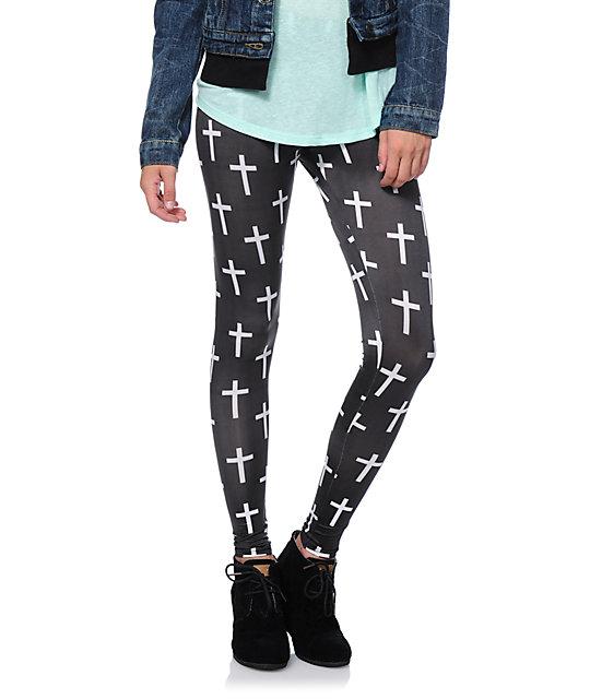 dc1e160a0b1fe0 Workshop White Cross Print Black Leggings | Zumiez