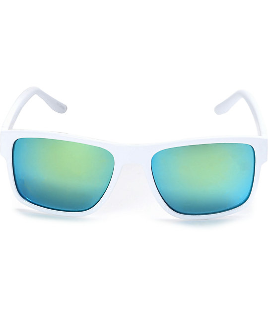 Wrap White & Turquoise Mirror Sunglasses
