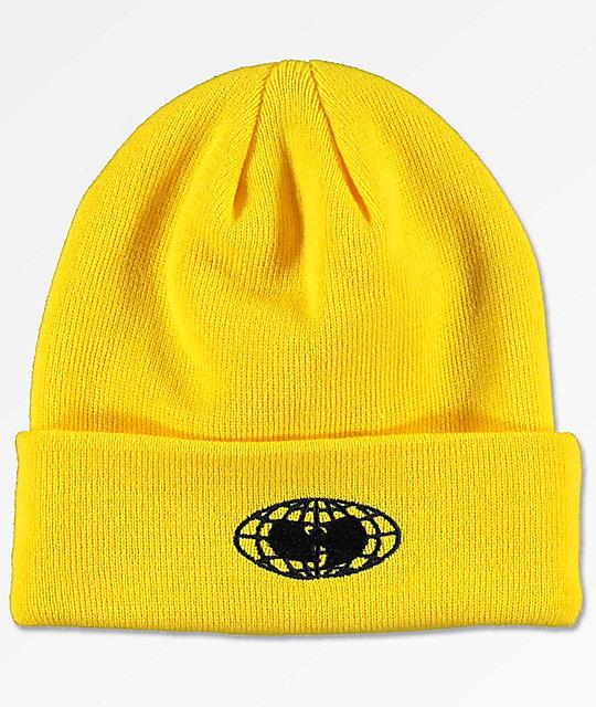 Wu Wear Wu-Tang Globe Logo Yellow Beanie  7c0d515f2bf9
