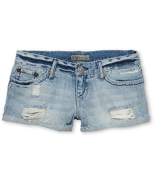 YMI Carrie Destructed Blue Cut Off Jean Shorts