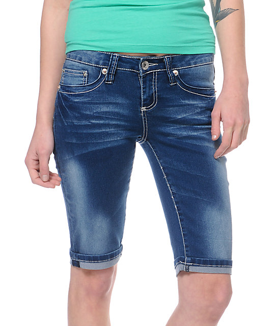 a008be2dd8 YMI June Blue Denim Bermuda Shorts | Zumiez