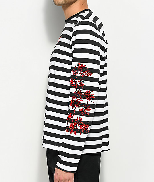 YRN Rose Stripe Black & White Long Sleeve T-Shirt