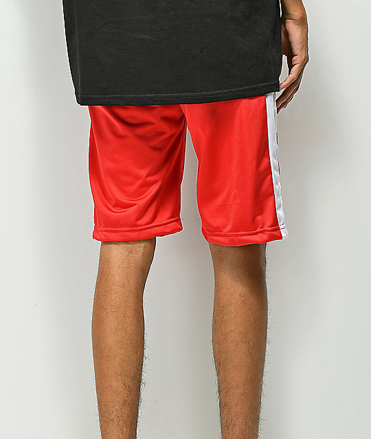 YRN Striped Red Track Shorts