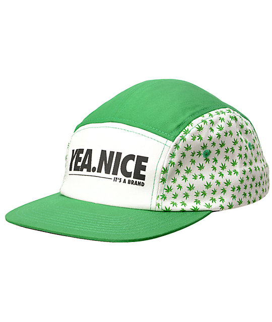 7985a2c14e6bc Yea.Nice Planted Green   White Weed Print 5 Panel Hat