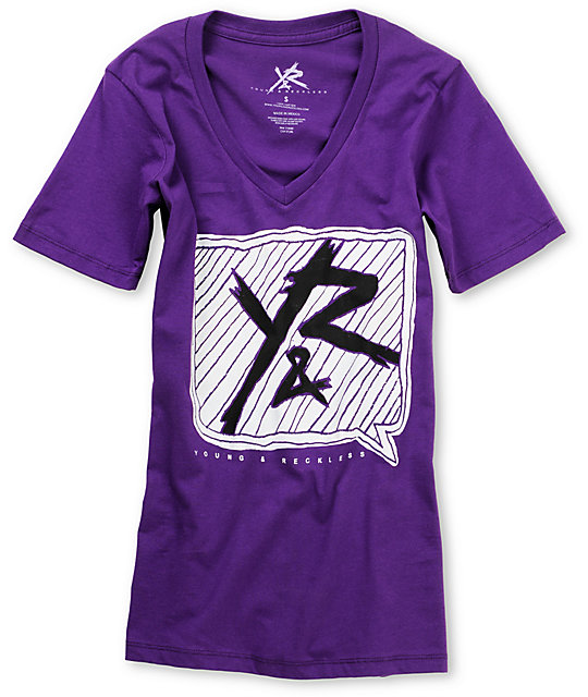Young & Reckless 80s Purple V-Neck T-Shirt