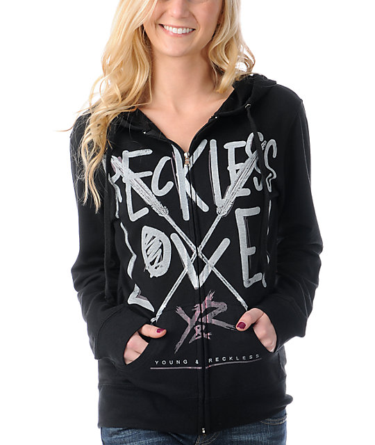 Young & Reckless Arrows Black Zip Up Hoodie