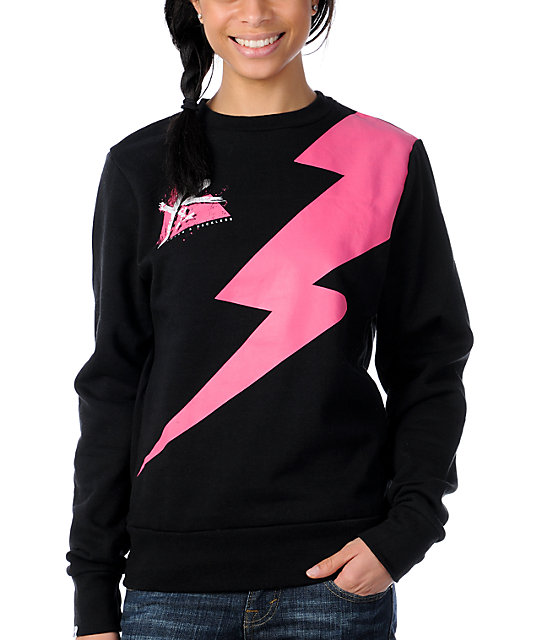 Young & Reckless Bolt Fall Black Crew Neck Sweatshirt
