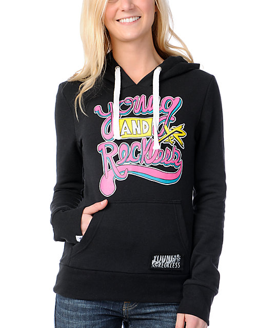 Young & Reckless Hand Down Script Black Pullover Hoodie