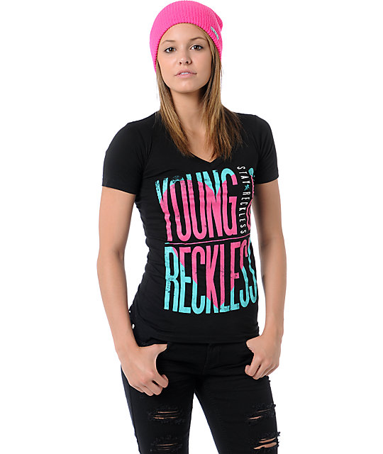 Young & Reckless Heart Black V-Neck T-Shirt