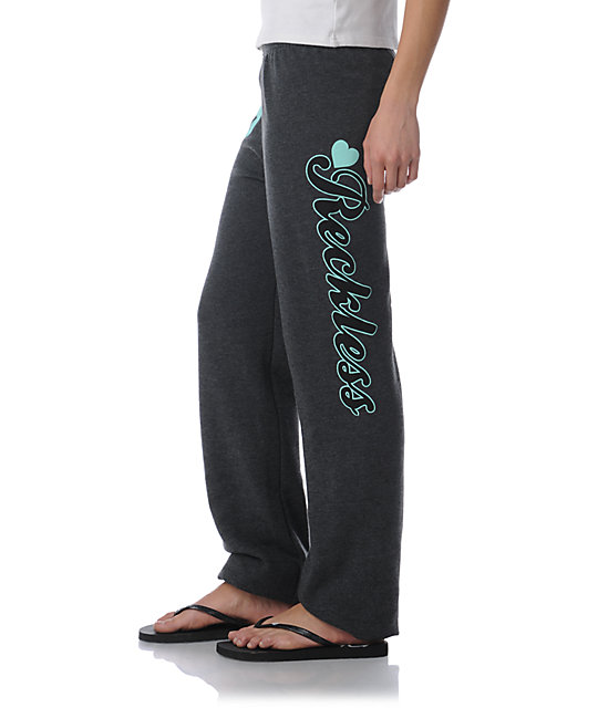 Young & Reckless Reckless Heart Charcoal & Turquoise Sweatpants