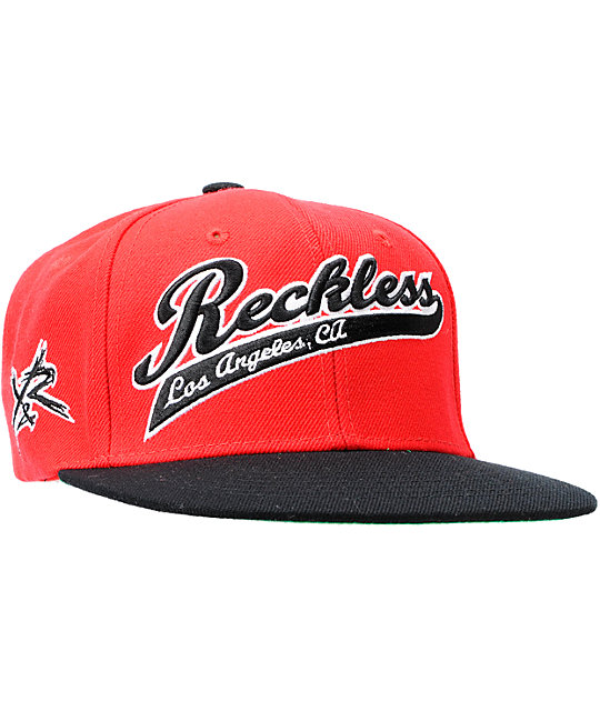 79f9c843e Young & Reckless Script Red & Black Snapback Hat | Zumiez