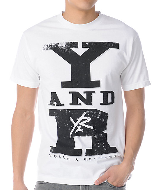 Young & Reckless Stacked Collage White T-Shirt