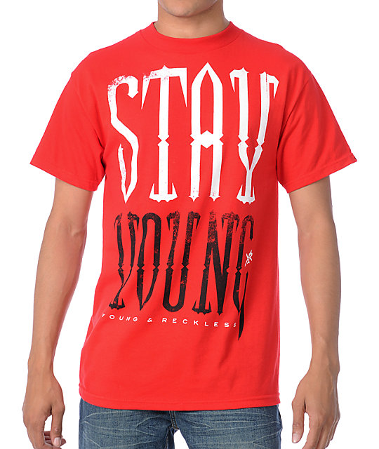 Young & Reckless Stay Young Red T-Shirt