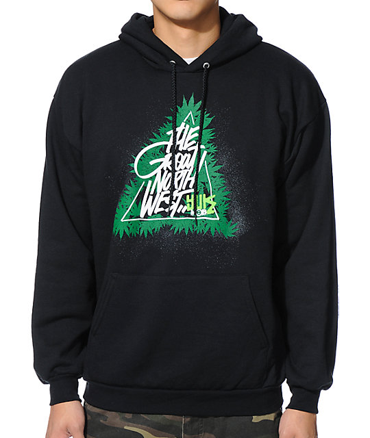Yuk The World The Great Pacific Northwest Black Pullover Hoodie