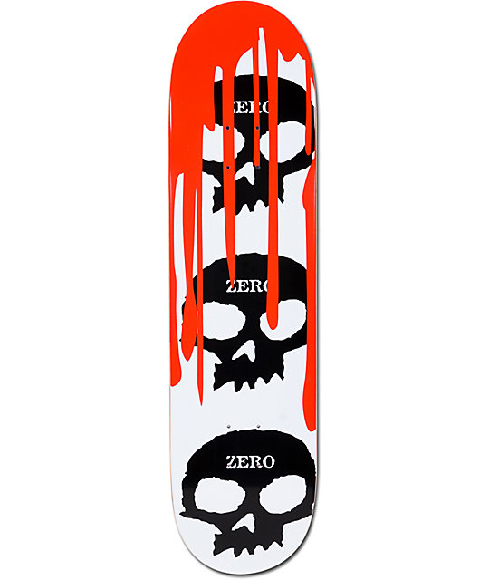 "Zero 3 Skull Blood White 8.0""  Skateboard Deck"