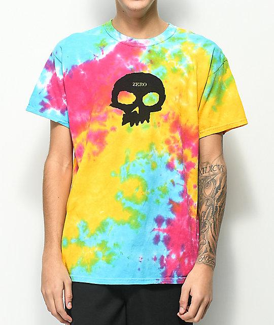 7d996c42129e1 Zero Single Skull Tie Dye T-Shirt