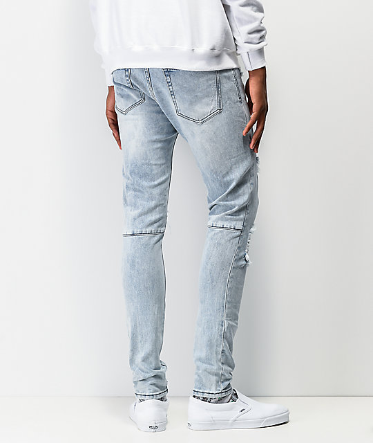 Ziggy Premium Pipes Trashed Blue Denim Skinny Jeans