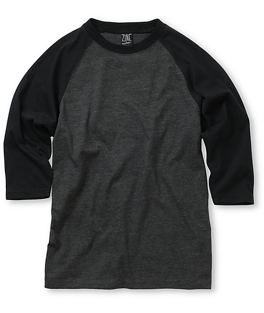 Zine 2nd Inning Black & Charcoal Boys Baseball T-Shirt