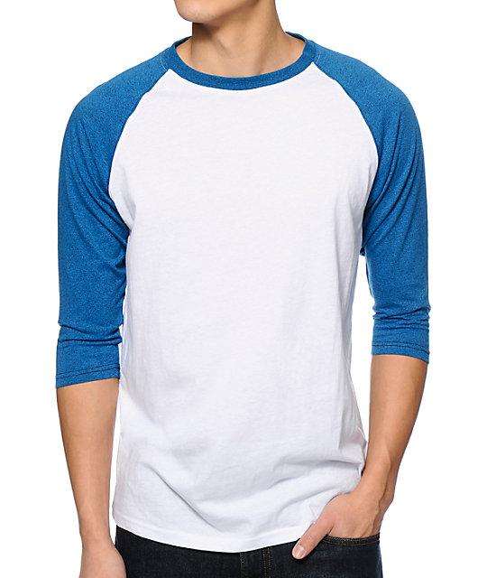 cff451dfccf Zine 2nd Inning White   Ocean Speckle Blue Baseball Shirt
