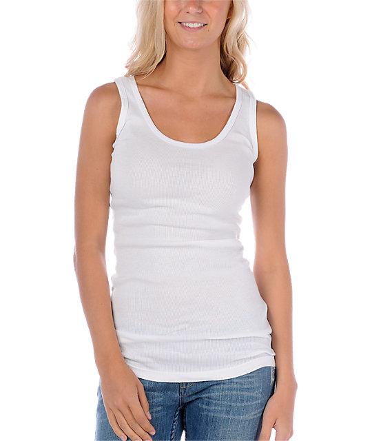 Zine 2x2 Rib White Tank Top