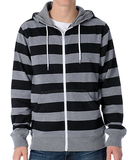 Zine Baseline Grey & Black Stripe Zip Up Hoodie