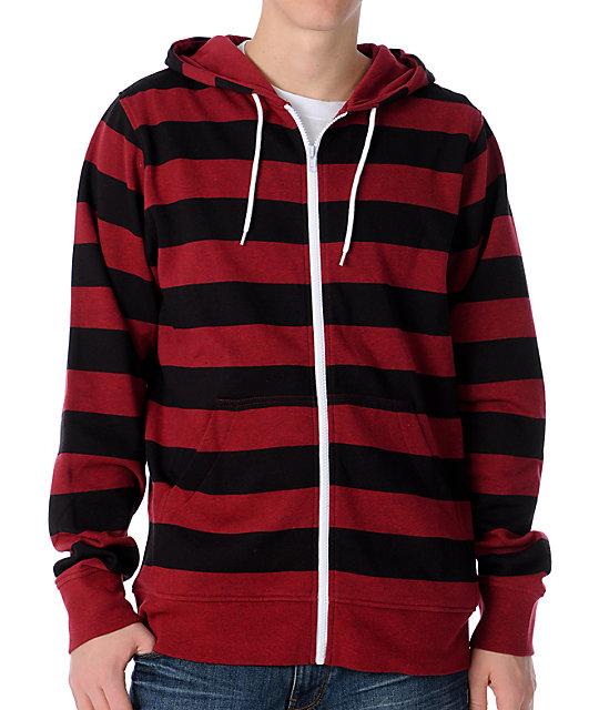 6069340b174 Zine Baseline Red   Black Stripe Zip Up Hoodie