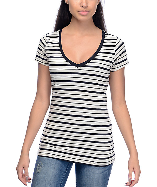Zine Beta Striped Black & White V-Neck T-Shirt