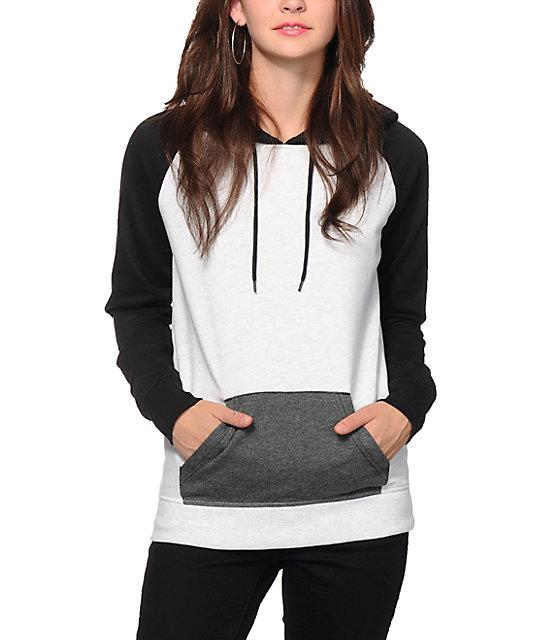 Zine Black, White & Charcoal Colorblock Raglan Hoodie