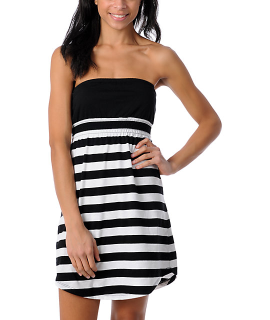 Zine Black & White Striped Tube Cover Up Dress