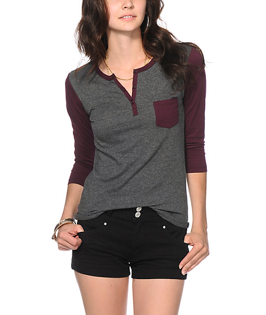 new lower prices online sale search for authentic Zine Blackberry & Charcoal Henley Shirt