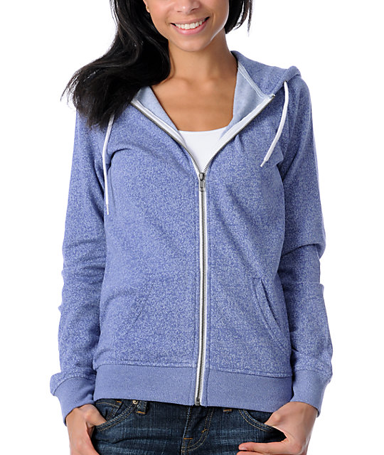 Zine Blue Ice Salt & Pepper Zip Up Hoodie