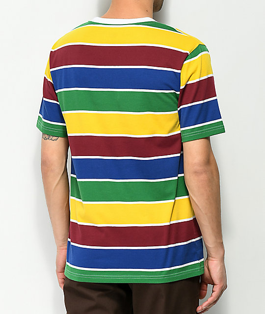 Zine Breaker Green, Blue & Yellow Striped T-Shirt