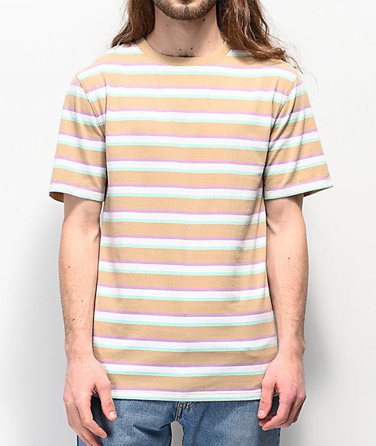 84383bf9 Zine Breaker Tan, Green & White Striped T-Shirt   Zumiez