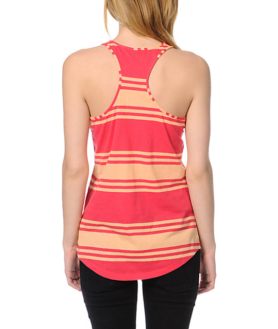 Zine Bright Rose Peach Wide Stripe Tank Top