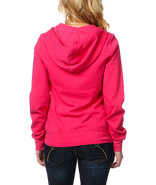 Zine Bright Rose Pink Zip Up Hoodie