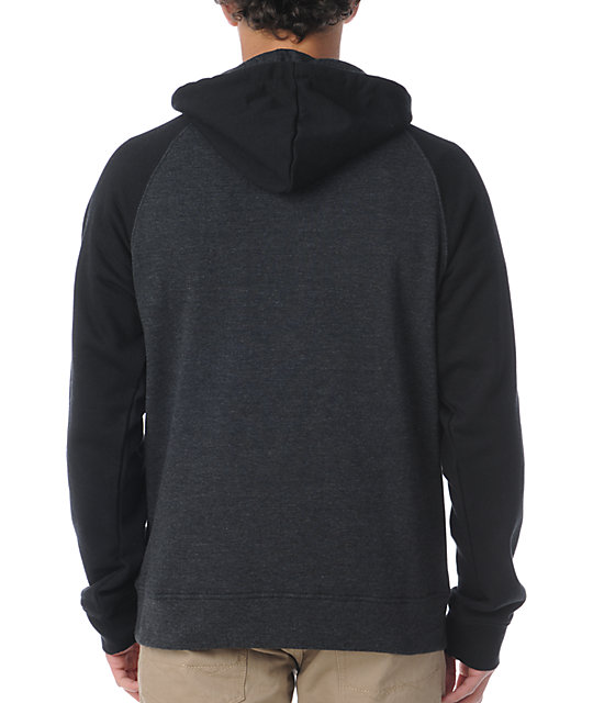 Zine Campus 2-Tone Black & Heather Charcoal Pullover Hoodie