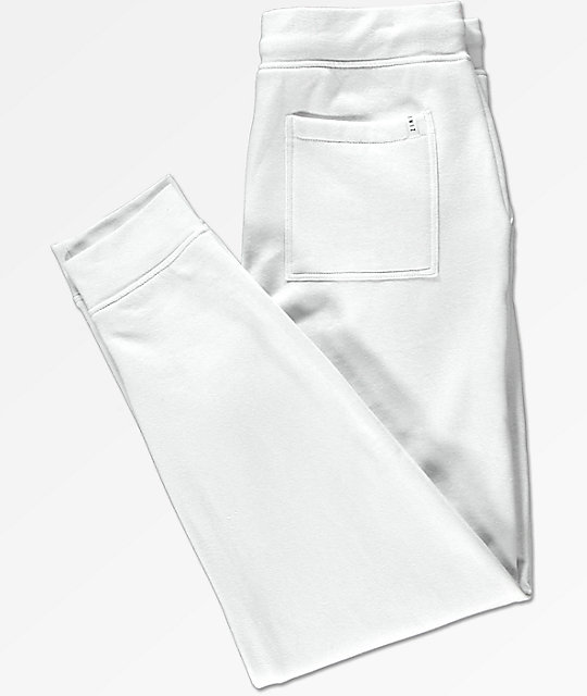 Zine Cap White Fleece Jogger Pants