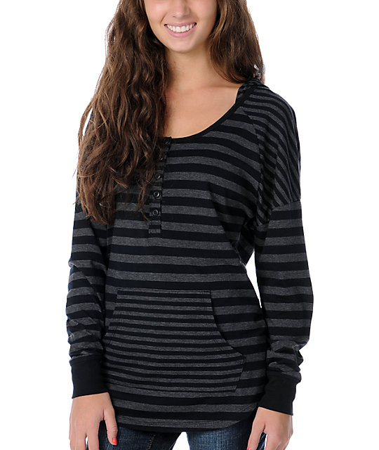Zine Charcoal & Black Stripe Henley Hooded Shirt