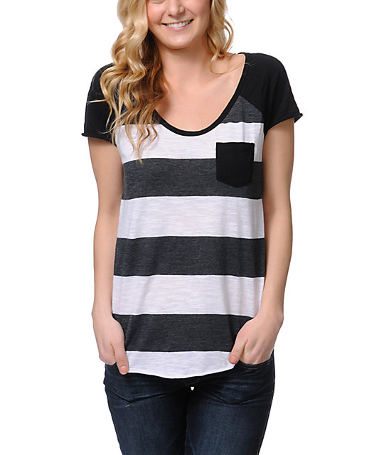 Zine Charcoal Scoop Neck Stripe T-Shirt