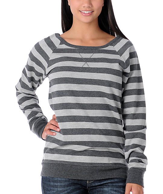 Zine Charcoal Striped Crew Pullover Sweatshirt