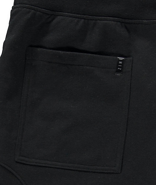 Zine Cover Black Solid Knit Jogger Pants