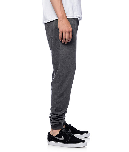 Zine Cover Charcoal Solid Knit Jogger Pants