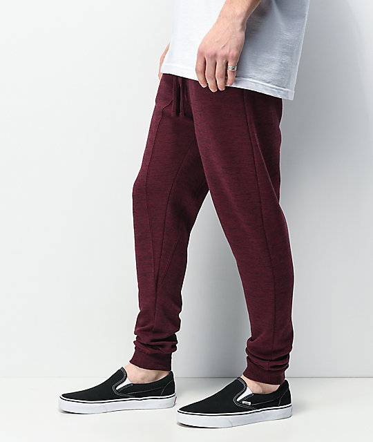 Zine Cover Space Dye Burgundy Jogger Sweatpants