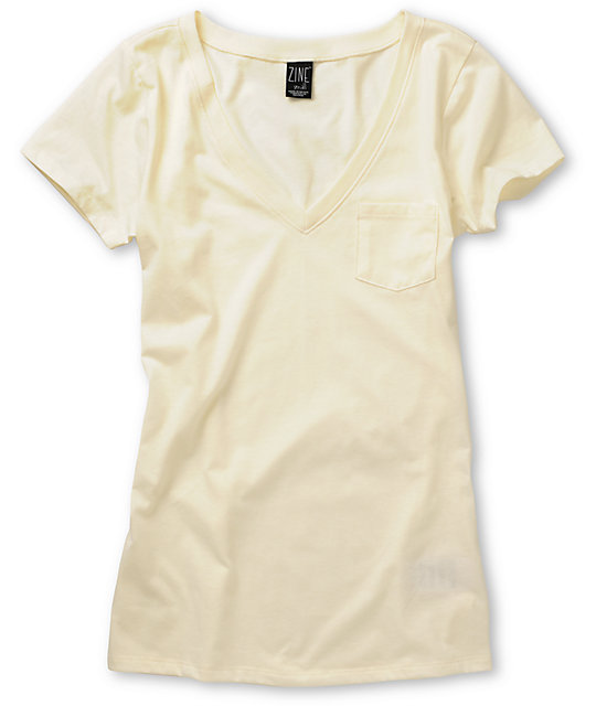Zine Cream V-Neck T-Shirt