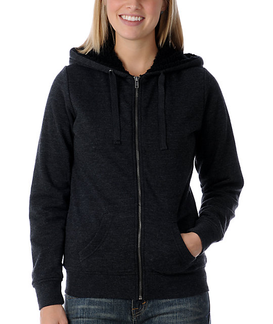 Zine Deep Heather Black Sherpa Hoodie