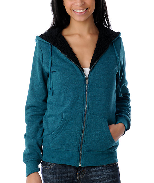 Zine Deep Heather Teal Sherpa Hoodie