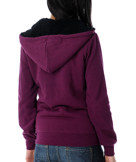 Zine Deep Heather Wine Sherpa Hoodie