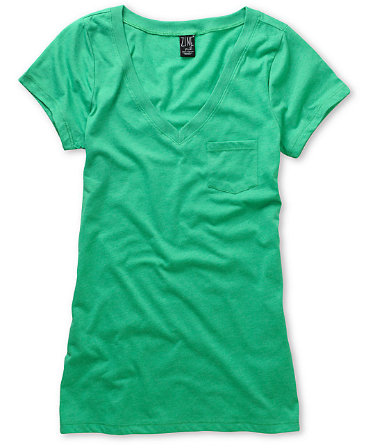 Zine Deep Mint Green V-Neck T-Shirt