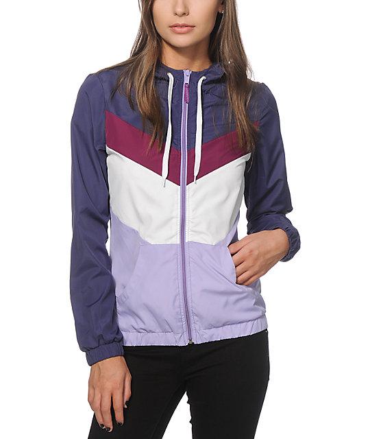 huge discount 01c4c e7f22 Zine Delmar Purple   Navy Colorblock Windbreaker Jacket   Zumiez