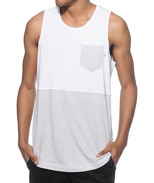 30c0f67a59 Zine Division camiseta blanca y gris sin mangas ...